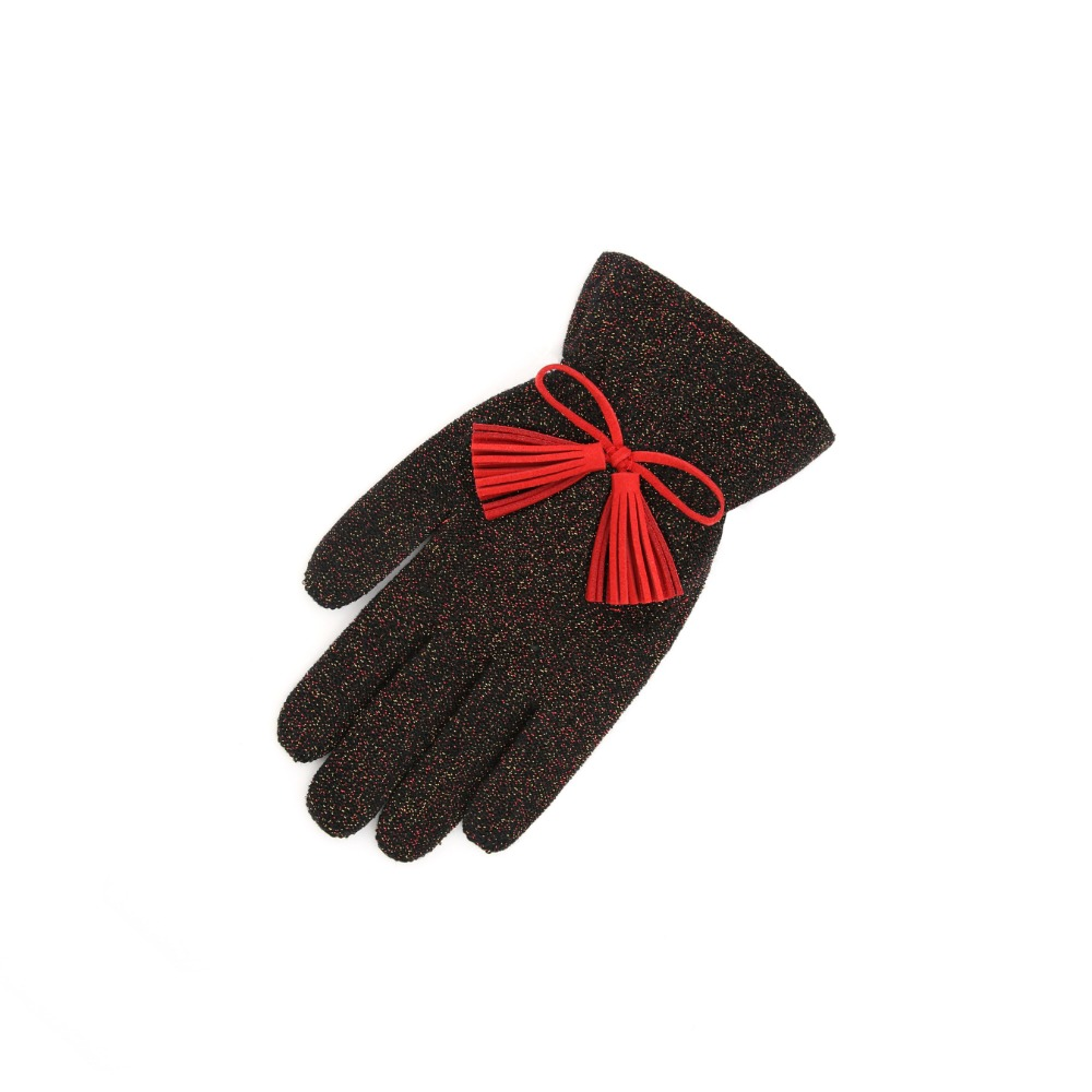 Color Glitter tassel Gloves_red