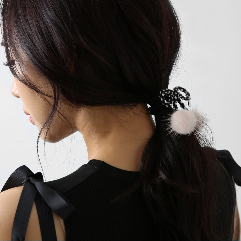 Lesley dot mink hair string