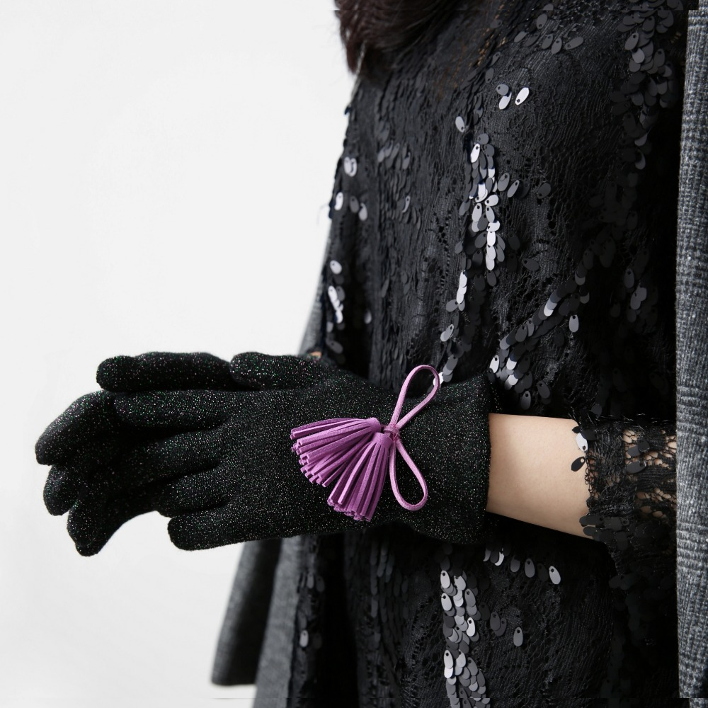 Color Glitter tassel Gloves_purple
