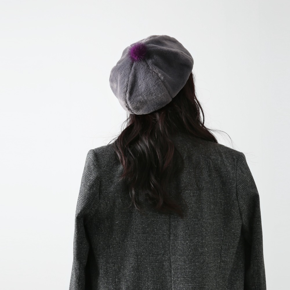 Soft mink hat_gray