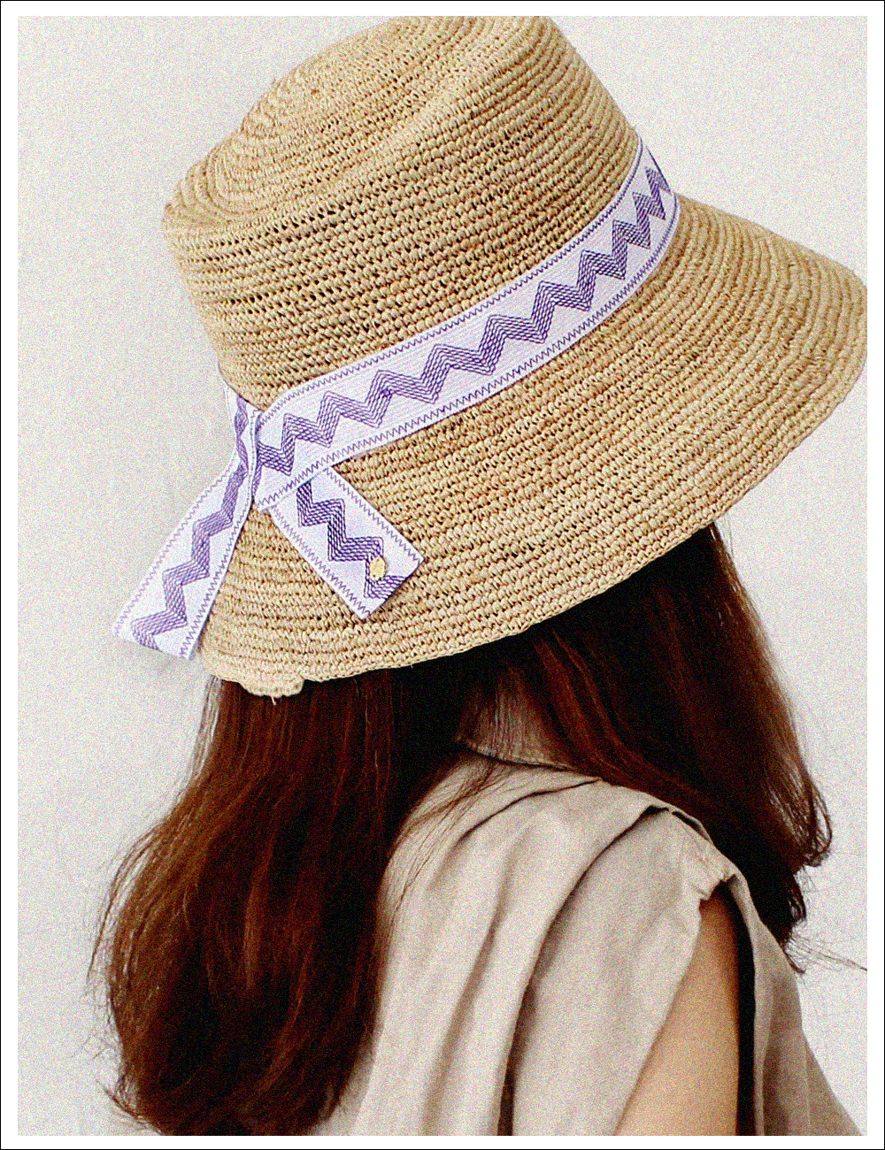 Colorfully band raffia bucket  hat_Purple